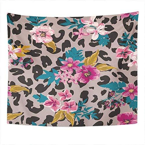 WYFCLHH Tapiz de leopardo retro floral colorido para colgar en la pared para dormitorio, sala de estar, decoración del hogar, 70.9 x 92.5 pulgadas