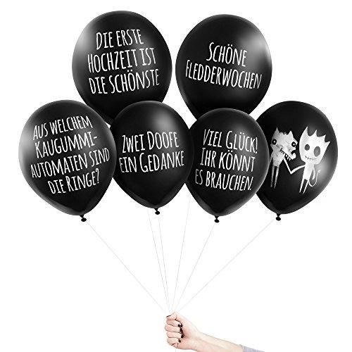 Pechkeks Anti-Party-Ballons, schwarze Luftballons mit schrägen Sprüchen, Hochzeits-Set, schwarz