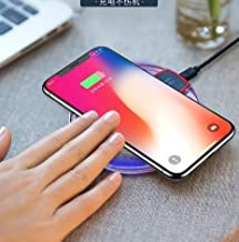 Tianhs Fast Wireless Charger, Qi Wireless Charger Pad Compatible iPhone X iPhone 8/8 Plus Samsung Note 8 S8/S8 Plus/S7/S7 Edge/S6 Universal Wireless Charger Stand (Black, 95.7mm)