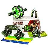 GOLDFIT Set de Rueda Abdominales de Fitness 10 Piezas: Rodillo AB Wheel, Alfombrilla, 2 Barras Flexiones, Prensa de Mano, Cuerda de Salto, Toalla Micro Fibra, 3 Bandas elásticas de Resistencia.