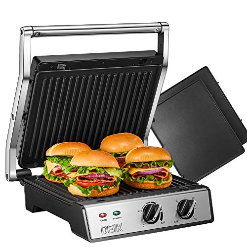 DEIK Sandwich?Toaster, 6-in-1 Panini Press and Grill with Timer and Temperature Controller, 2000W, 4 Large Non-Stick Removable Plates for Family, 180? Flat Open, Removable Drip Tray, Stainless Steel