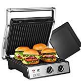 Panini Press, 6-in-1 Sandwich Maker with Timer and Temperature Control, 4 Non-Stick Removable Plates, Opens 180 Degrees for Steaks, Grilled Meat, DEIK