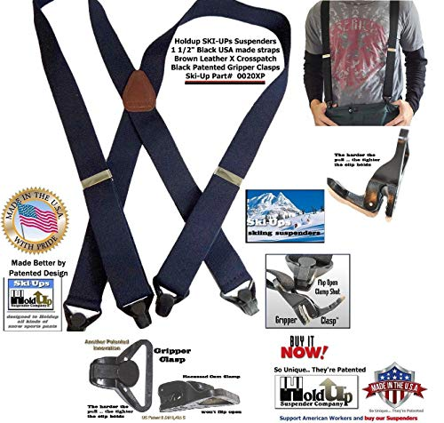 American made Holdup Black Ski-Ups X-back Suspenders with Patented black Gripper Clasps