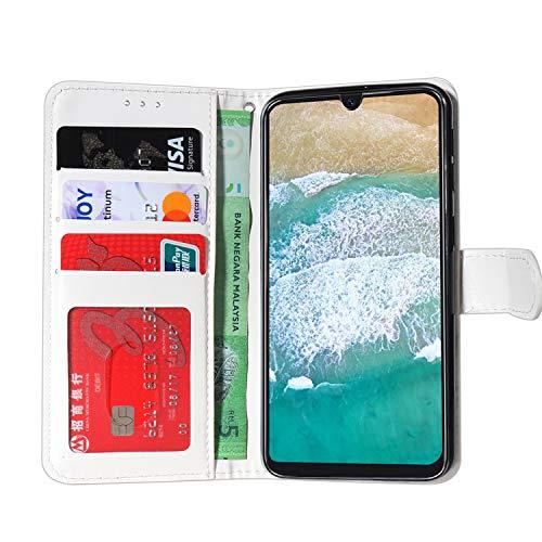 Ancase Handyhülle für Samsung Galaxy M31 Hülle Bunte Spitze Muster Lederhülle Flip Case Cover Schutzhülle mit Kartenfach Ledertasche für Mädchen Damen