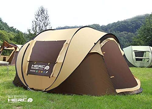 Mdsfe 3-4 Person Use Ultralarge Pop Up Automatic Quick Open Beach Tent Large Gazebo Camping Tent-Light Yellow,A2