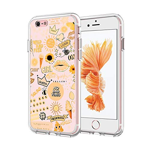 iPhone 6/6S Case, Ultra-Thin Transparent Fashion Queen Pizza No Bad TPU Shock and Drop Protection Cover, for Girls Women Shockproof Bumper 360° Protection