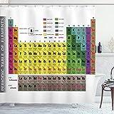 ABAKUHAUS Duschvorhang, Mehrfarbig Periodentafel der Elemente Geek Nerd Periodensystem Atome Elektronen Bild Druck, Wasser & Blickdicht aus Stoff mit 12 Ringen Bakterie Resistent, 175 X 200 cm