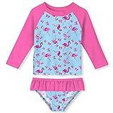 UNIFACO Toddler Girls Long Sleeve Rash Guard Ruffle 2-Piece Swimsuit Set Tankini for Swimming Pool Size 6T