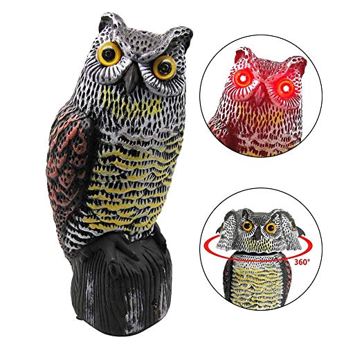 tackjoke Owl Figure Garden Decoration Scarecrow Rotatable 360-degree With Reflector Eyes Plastic Hand Painted A Realistic Appearance With Sensor Below 36x15x14cm