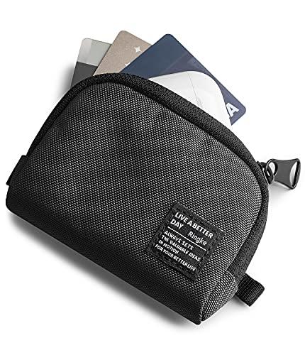 Ringke Mini Pouch Half Pocket Compatible con Funda Airpods Pro, AirPods 1,2, Carcasa Samsung Galaxy Buds Pro, Bolsa Duradera Portátil Ligera con Mosquetón - Black