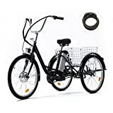 Viribus 15mph Adult Electric Tricycle Mobility Scooter with Large Bike Basket   24 Inch Electric Trike Bike for Adults   36V 3 Wheel Adult Scooter for Women Men Errands Exercise Mobility Fun, Black
