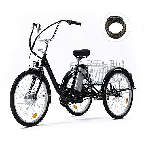 Viribus 15mph Adult Electric Tricycle Mobility Scooter with Large Bike Basket | 24 Inch Electric Trike Bike for Adults | 36V 3 Wheel Adult Scooter for...