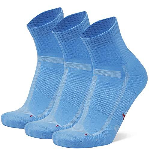 Calcetines de Running para Largas Distancias, para Hombre y Mujer, Acolchados, Transpirables, Calcetines con Compresión de Arco, Anti-Ampollas, Maratón, Negro, Pack de 3 (Azul claro, EU 43-47)