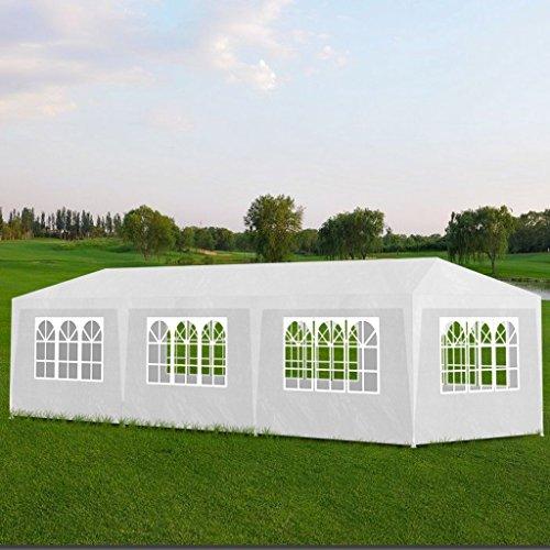 Festnight Tonnelle Pavillon Chapiteau Tonnelle de Jardin Blanc 3x9m