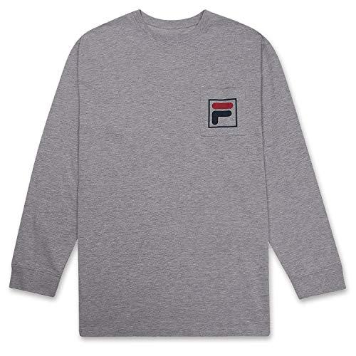 Fila Mens Big and Tall Long Sleeve Pocket T Shirt with Logo Heather Grey XLT