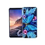 König Design Handy-Hülle kompatibel mit Xiaomi Mi Max 3 Silikon Hülle Hülle Sturzsichere Back-Cover Handyhülle - Schmetterling Blau