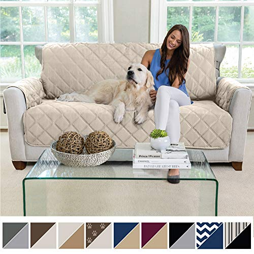 MIGHTY MONKEY Premium Reversible Small Sofa Protector for Seat Width up to 62 Inch, Furniture Slipcover, 2 Inch Strap, Couch Slip Cover Throw for Pets, Dogs, Kids, Cats, Sofa, Beige Latte