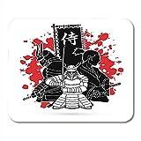Schwarze Rüstung 3 Samurai-Komposition mit Fahne Japanisch Mittel Entworfen auf Splatter Blood Grafik Army Premium Fashion Rutschfeste Mousepads 18x22CM