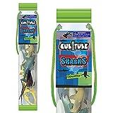 Cubitube - Tiburón de Deluxebase. Colección de 11 Piezas de Figuras pequeñas de Tiburones y Accesorios. Tubo de Almacenamiento de plástico Reutilizable de Mini réplicas del océano