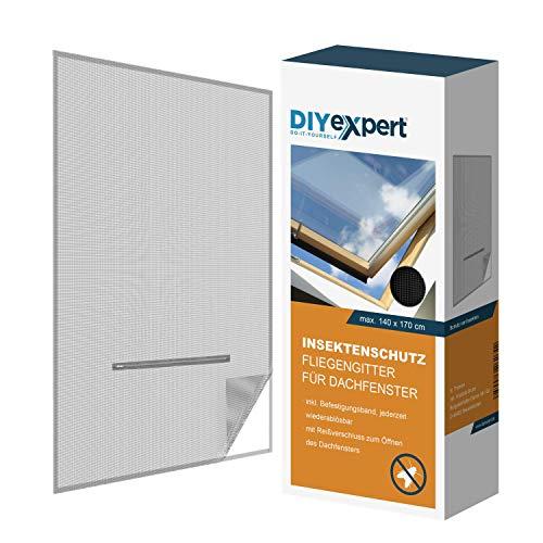 DIYexpert Fliegengitter für Dachfenster 140 x 170 cm Insektenschutz mit Reißverschluss und Klettband anthrazit