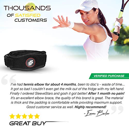 Sleeve Stars Tendonitis Tennis & Elbow Brace With Compression Pad for Men & Women for Support & Pain Relief Against Tendonitis