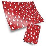 4 rollos de papel de 70 x 50 cm, con estampado ecológico | Patrón de árbol de bosque rojo blanco...