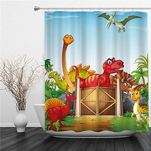 AIMILUX Duschvorhang 180x180cm,Cartoon Style Dinosaurier in einem Dino Park Dschungelbäume Wildlife Habitat,Duschvorhang Wasserabweisend-Duschvorhangringen 12 Shower Curtain mit
