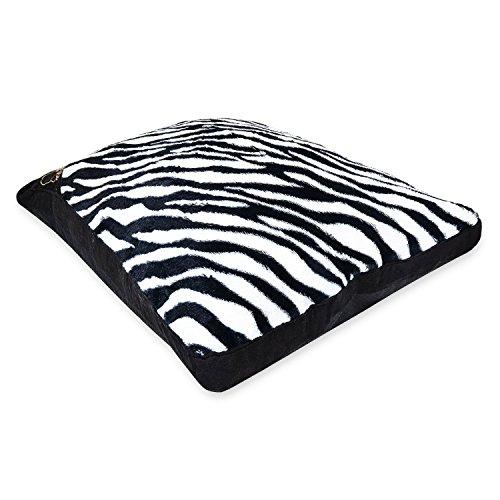AmigoZone Luxury Large & Extra Large Luxury Fur Dog Bed Washable Zipped - Large - Zebra