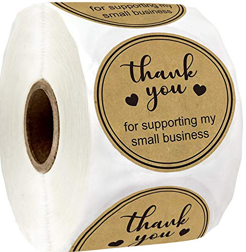 Round Kraft Thank You for Supporting My Small Business Stickers 2 Inch Thank You Labels Small Business - Thank You for Supporting Labels Business Stickers Shipping Labels for Business Owners