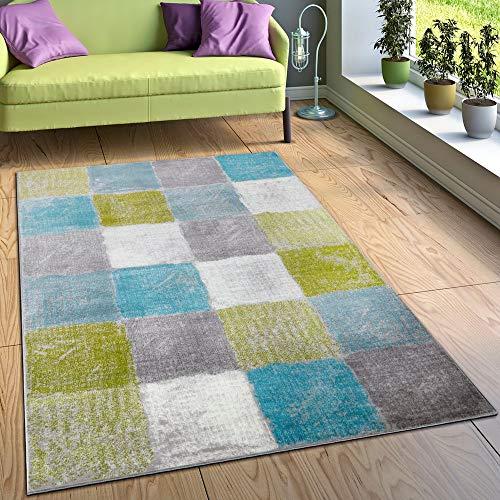 Paco Home Designer Teppich Wohnzimmer Ausgefallene Farbkombination Karo Türkis Grün Grau, Grösse:160x220 cm