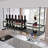 WYFZT Techo Estante de Vino de Metal, Estante para Botellas de Vino Soportes para Copas Sostenedor del Vidrio de Vino cubilete Colgando Bar Escritorio clubpara gabinetes/armarios - Negro