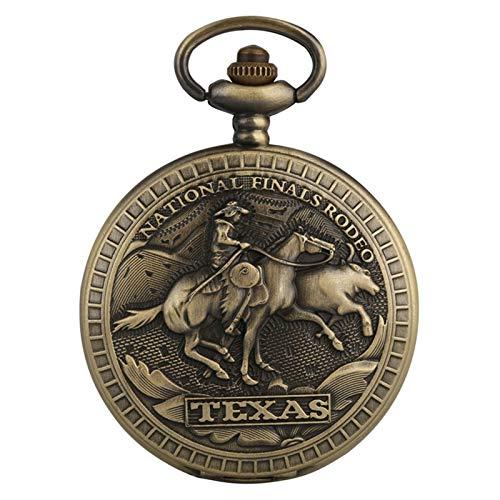 Reloj de bolsillo Finales de bronce Rodeo Design Cuarzo Reloj de bolsillo Royal Bronce Collar Colgante Reloj Reloj Regalos Para Hombres Mujeres para hombres mujeres ( Color : Show as the picture )