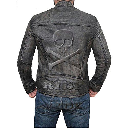 e-clothing Distressed Cafe Racer Chaqueta de Cuero Genuino con Skull Logo on Back Embossed- M