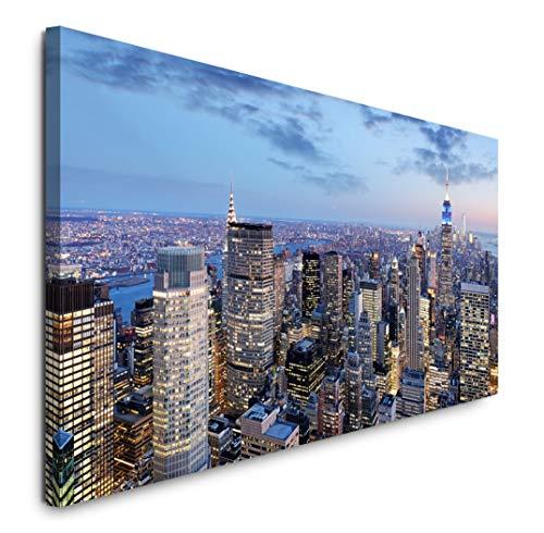Paul Sinus Art GmbH New York in der Nacht 120x 50cm Panorama Leinwand Bild XXL Format Wandbilder Wohnzimmer Wohnung Deko Kunstdrucke
