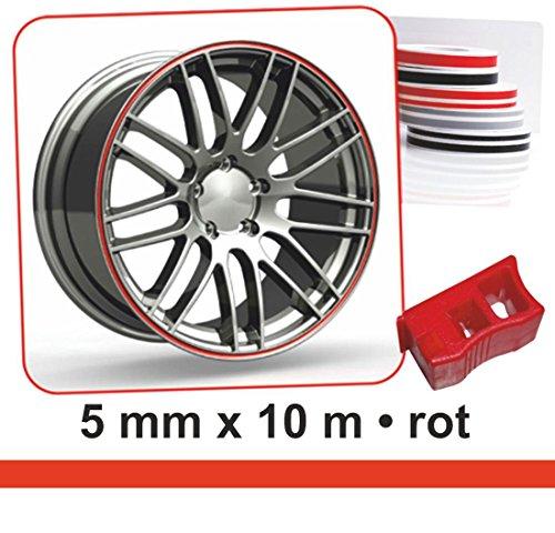 carstyling XXL Zierstreifen Wheel-Stripes für Autofelgen rot 5 mm x 10 m ~ schneller Versand innerhalb 24 Stunden ~