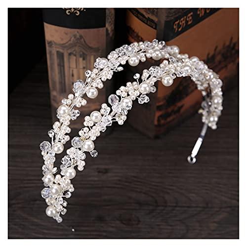 XKMY Corona de perlas para mujer, doble fila, perlas de cristal, diadema, tiara, princesa, corona de boda, accesorios de joyería para el cabello, corona de perlas (color metálico: como se muestra)