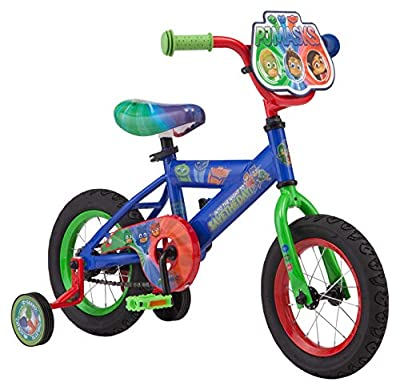 PJ Masks Kids Bike, Includes Training Wheels and Handelbar Plate, 12-Inch Wheels, Blue