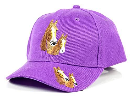Evil Wear Kinder-Cappy Jungen Mädchen Baseball Cap mit Pferde Strick Logo Sonnenschutz Schirm Mütze Pferde Cap hell lila Flieder