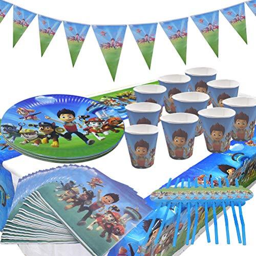 Gebutstag Party Set 52-Teiliges Party-Set Paw Patrol Teller Becher Servietten Geburtstag Dekoration Set Happy Birthday Deko Bunte Partykette Girlande Banner