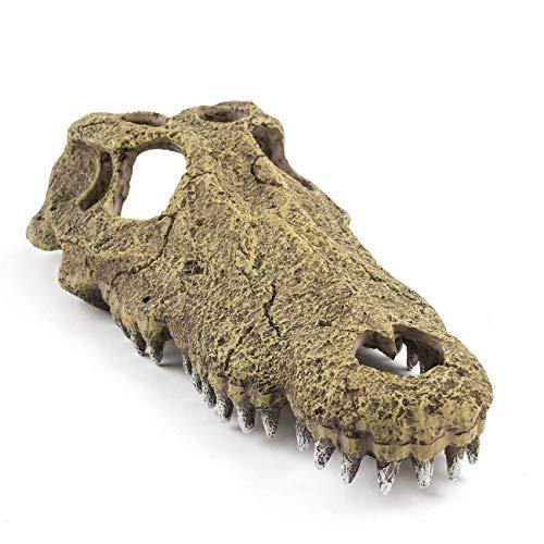 Niteangel Resin Crocodile Skull Terrarium Decor Snake & Reptile Hideout
