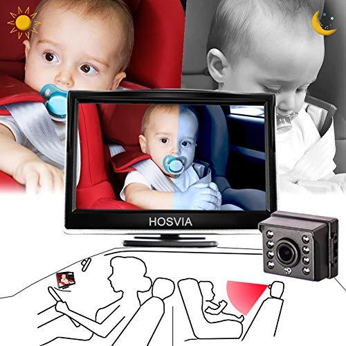 아기 자동차 거울 5 인치 HD 모니터 디스플레이 유아 후면보기 안전 차면 좌석 거울 여분의 강한 야간 시계 와이드 뷰 HD 카메라 아기의 모든 이동을 관찰하기 위해 아기가 쉽게 겨냥한 HD 카메라