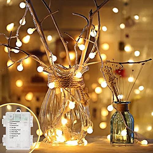LED Lichterkette Batterie, 6.5M/21FT 40 LED Globe Lichterketten außen/innen 8 Modus IP65 Wasserdicht Balkon Lichterketten Kugeln für Garten, Zimmer, Hochzeit, Party, Weihnachten Deko (Warmweiß)