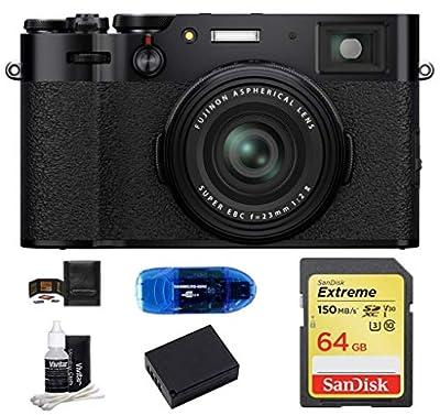 Fujifilm X100V Digital Camera Bundle Includes: SanDisk 64GB Extreme SDXC Memory Card +Spare Battery + More (6 Items) by FUJIFILM