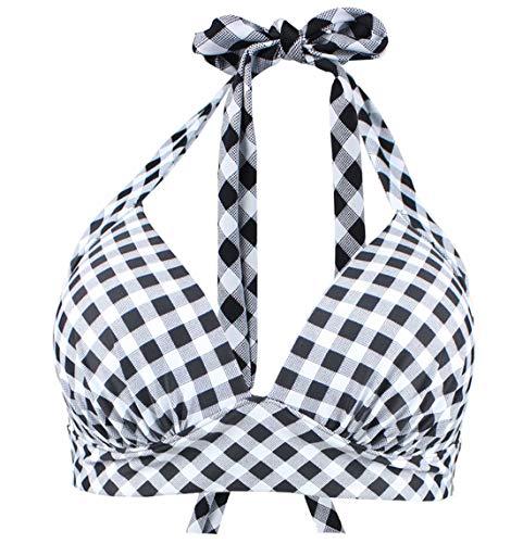 Viloree Vintage 1950's Rockabilly Damen Frauen Bikini Oberteile Push Up Neckholder Bügellos Schwarz & Weiss Kariert L