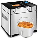 KBS Automatic Bread Machine, 2.2LB Stainless Steel Bread Maker with Fruit Nut Dispenser, Ceramic Pan, Smart Touch Button, 17 Programs, 3 Loaf Sizes, 3 Crust Colors, 15 Hours Delay and 1 Hour Keep Warm
