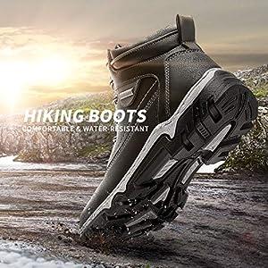 Women Mid Hiking Boots Outdoor Waterproof Non Slip Backpacking Trekking Walking Trails(Off Black.US9)