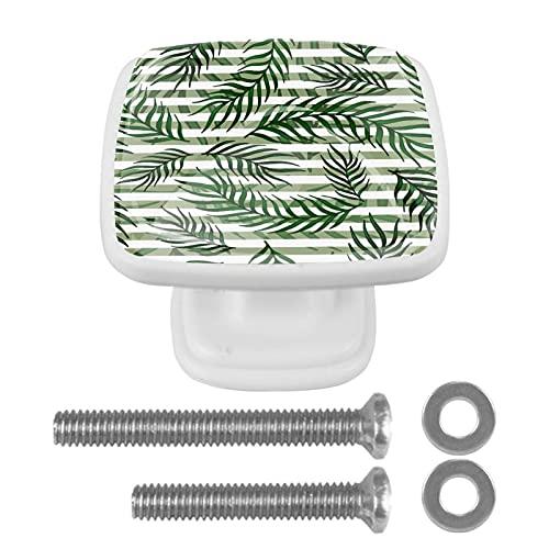 Pomos de cajones con diseño de hojas tropicales, color blanco, verde, cristal a rayas, mango de ABS I de primera calidad, elegantes pomos para aparador, tiradores para el hogar, cocina, oficina