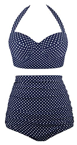 Angerella High Waisted Bikini Vintage Swimsuits for Women 2 Piece Bathing Suit Beach Polka Dot Swimwear Navy,L