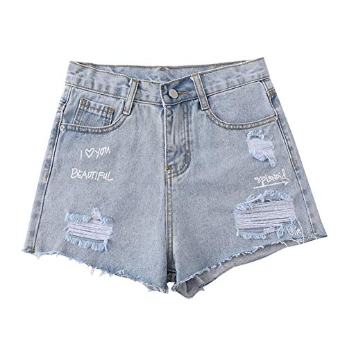 DAIDAICDK Womens Zomer Casual Losse Brede Been Denim Shorts Slim Hoge Taille Jeans Mode Print Letter Ripped Gat A-lijn Shorts