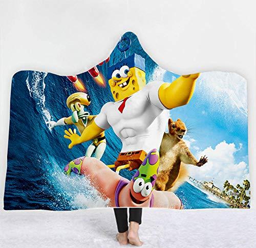 Doppellagige Decke Decke Spongebob Decke Kapuze Kap Plüsch Verschleißfeste Wickel Sofa Decke Erwachsene Decke-150x200cm